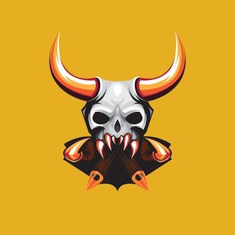 Impresionante diseño de logotipo de skull demon esport