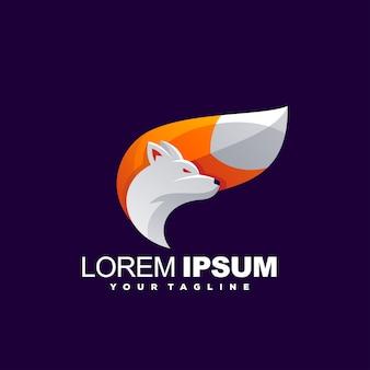 Impresionante diseño de logotipo de zorro degradado