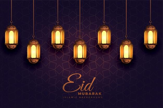 Impresionante eid mubarak festival luz lámparas de fondo