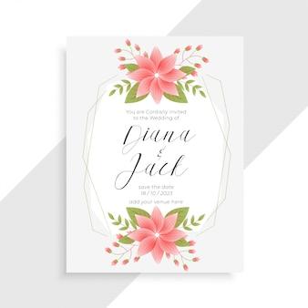 Impresionante flor vintage y plantilla de tarjeta de boda floral