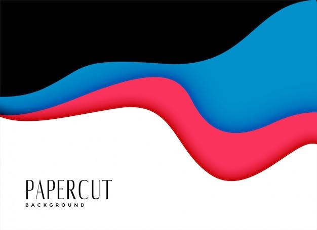 Impresionante fondo de capas de papercut ondulado