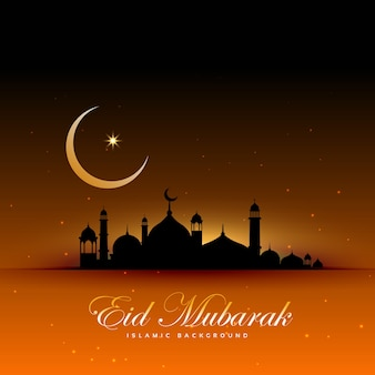 Impresionante fondo de eid mubarak con mezquita y luna