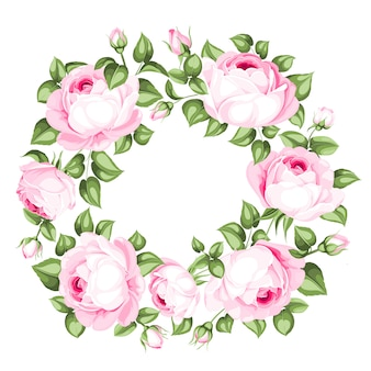 Impresionante guirnalda de rosas en flor.