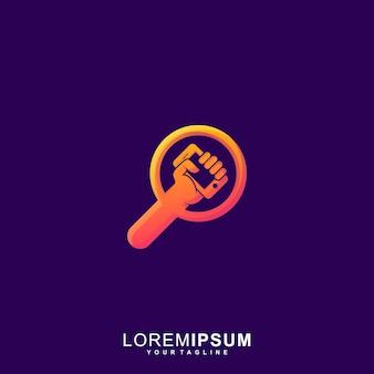 Impresionante icono de dispositivo de búsqueda logotipo premium
