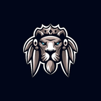 Impresionante ilustración de diseño de logotipo de mascota de león