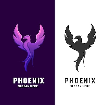 Impresionante ilustración de logotipo degradado de phoenix