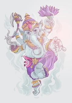 Impresionante ilustración de lord ganesha de color