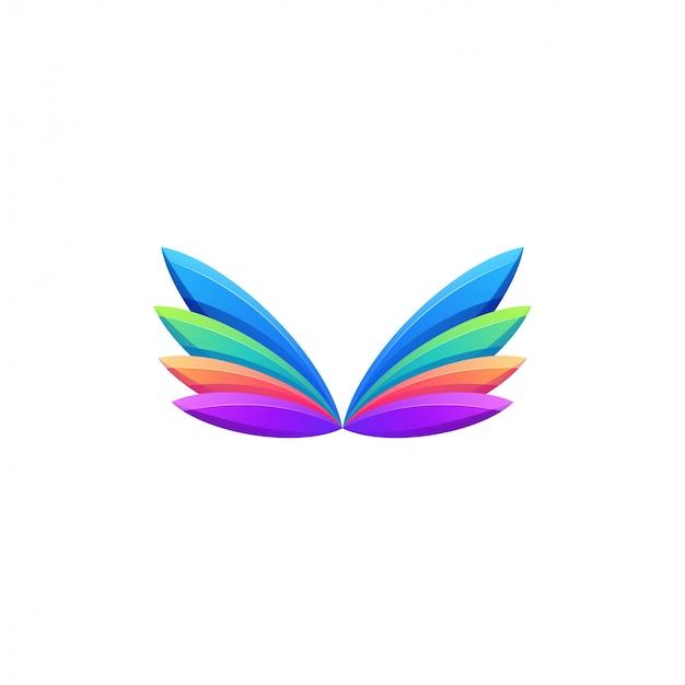 Impresionante logo de alas coloridas