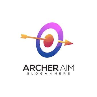 Impresionante logo de arquero colorido abstracto