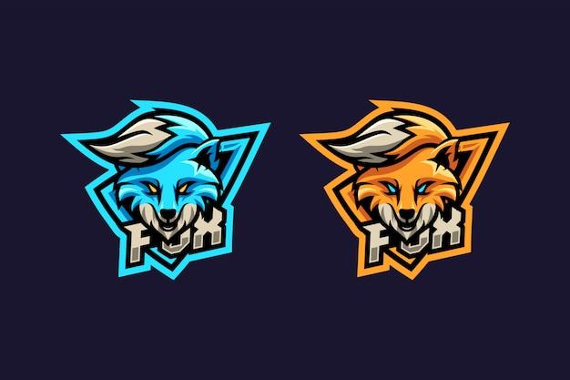 Impresionante logo de zorro azul y naranja