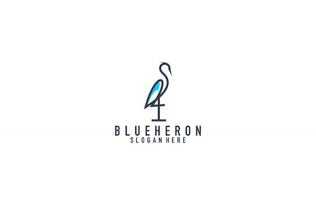 Impresionante logotipo de arte de línea blue heron