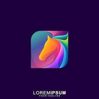 Impresionante logotipo de caballo colorido premium