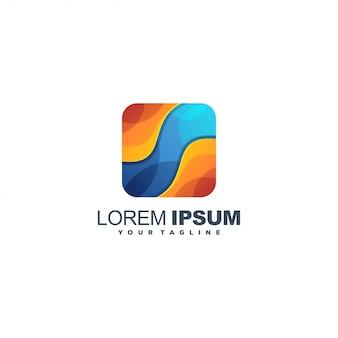 Impresionante logotipo de color abstracto de medios