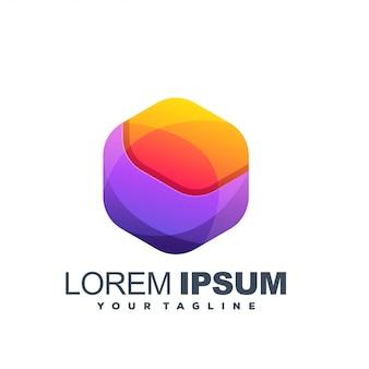 Impresionante logotipo de color hexagonal