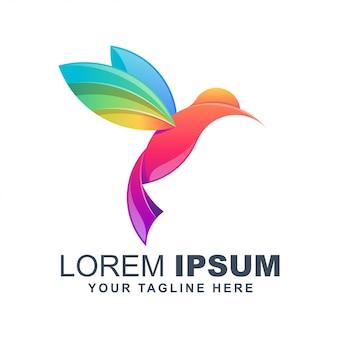Impresionante logotipo colorido pájaro
