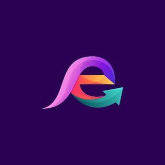Impresionante logotipo de flecha letra e