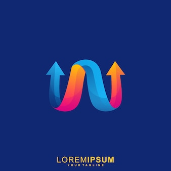 Impresionante logotipo de letra w arrow premium
