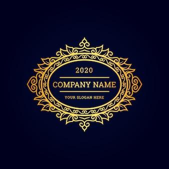 Impresionante logotipo de lujo mínimo con oro