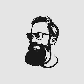 Impresionante logotipo de mascota de barba para peluquero