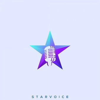 Impresionante logotipo de star voice premium