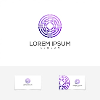 Impresionante logotipo de tarjeta de visita de degradado de círculo