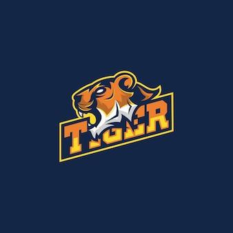Impresionante mascota tigre premium logo