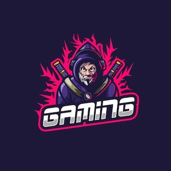 Impresionante ninja con barba y sudadera con capucha para el logotipo de esports