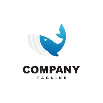 Impresionante plantilla de logotipo de ballena