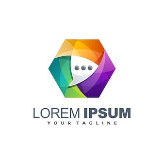 Impresionante plantilla de logotipo de chat colorido