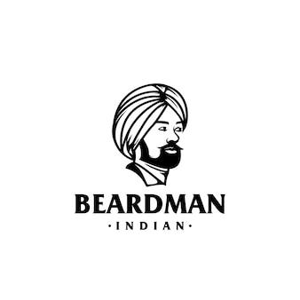 Impresionante plantilla de logotipo de hombre barbudo indio