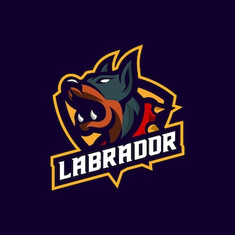 Impresionante plantilla de logotipo de mascota de perro labrador