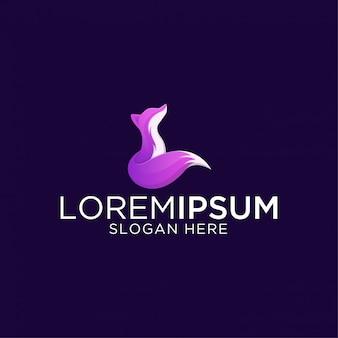 Impresionante plantilla de logotipo premium de zorro moderno