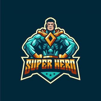 Impresionante plantilla de logotipo de súper héroe