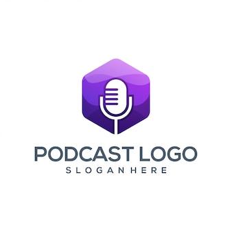 Impresionante podcast logo ilustrador vectorial