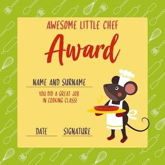 Impresionante premio pequeño chef