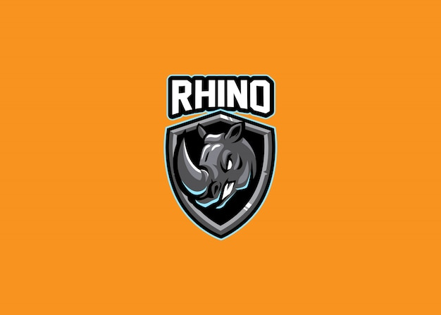 Impresionante rhino head esport logo gaming