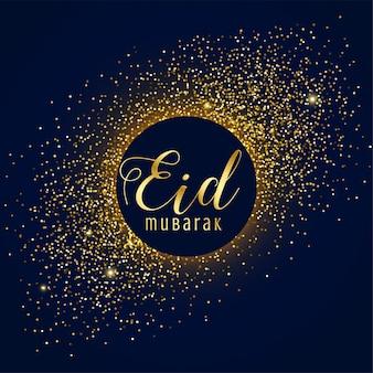 Impresionante saludo del festival eid mubarak con destellos dorados