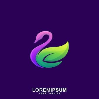 Impresionante swan leaf premium logo