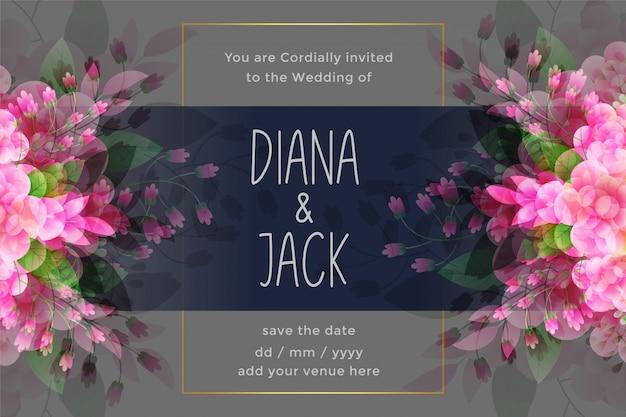 Impresionante tarjeta de invitación de boda con decoración de flores.