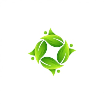 Impresionante vector logo de hoja verde
