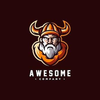 Impresionante viking logo diseño vectorial