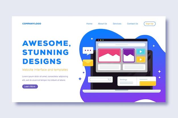 Impresionantes diseños impresionantes con página de inicio para computadora portátil