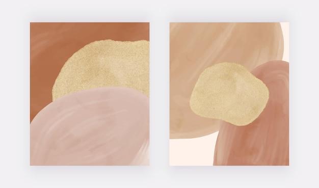 Impresiones de arte de pared de acuarela boho con formas desnudas y marrones