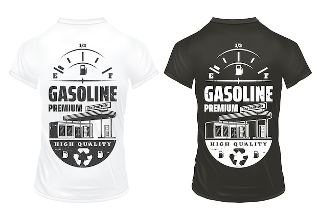 Impresiones de gasolina vintage en camisas con indicador de combustible de inscripción y gasolinera aislada