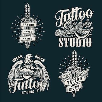 Impresiones de salón de tatuaje monocromo