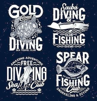 Impresiones vectoriales del club de pesca submarina y submarinismo