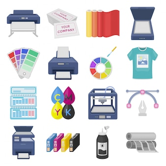 Impresora de impresión conjunto de dibujos animados icono.