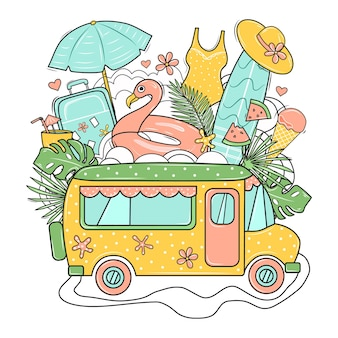 Imprimir con bus, maleta, tabla de surf, flamenco, gorro de playa, helado y hojas de palmera. ilustración.