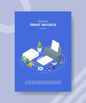 Imprimir concepto de factura personas alrededor de la calculadora de papel de la máquina de impresión grande