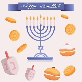 Imprimir hanukkah conjunto sufgan monedas vector